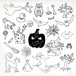 Sketch doodle Halloween icon set. Hand draw vector illustration — Stock Vector #53583425