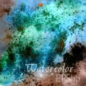 Blue-green abstract watercolor background sea. Vector illustrations — Vector de stock