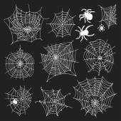 Set of 10 different spiderwebs and spiders on black background — Vector de stock
