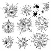 Set of 10 different spiderwebs and spiders on white background — Stock Vector