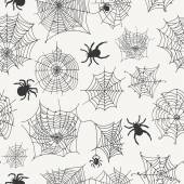 Vector seamless pattern with spiders on a white background . Vector illustrations — Stock Vector