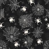 Vector seamless pattern with white spiders on an black background . Vector illustrations — Stock Vector