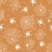 Vector seamless pattern with white spiders on an orange background . Vector illustrations — Stock Vector