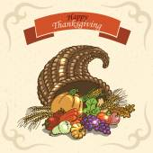 Thanksgiving Day. Greeting Card on paper background — Stockvektor