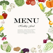 Vegetarian meals are available. Vegetable background with an inscription in the center — Stockvector