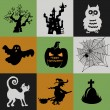 Halloween Collection of icons - pumpkin, witch, owl, ghost, cat, tree, web, and the tomb of an ancient castle — Stock Vector #55006361