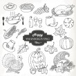 Sketch doodle Thanksgiving icon set. Hand draw vector illustration — Stok Vektör #55377813