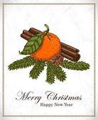 Christmas card with mandarin, vanilla, cinnamon and spruce twigs — Stock Vector
