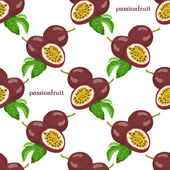 Seamless pattern with passionfruits — Stock Vector
