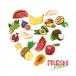 Isolated heart made of fresh fruits — Stock Vector #69809559