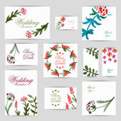 Wedding invitation, thank you card, save the date cards. RSVP card — Stockvector