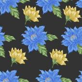 Seamless pattern with blue and yellow flowers on a dark background — Stock Vector