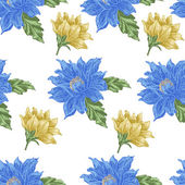 Seamless pattern with blue and yellow flowers on a white background — Stock Vector
