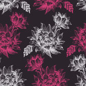 Seamless pattern with pink and white flowers on dark background — ストックベクタ