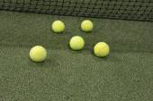 Paddle ball in astroturf court  — Stock Photo