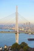 Most linowy z jasne niebo — Zdjęcie stockowe