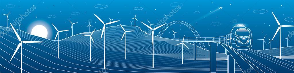 Movimiento del tren, paisaje de montaña, molinos de viento, fuerza ...