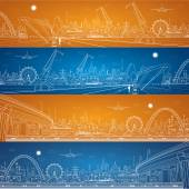Energy industrial panorama, cargo port panorama, vector lines composition, night city, ship on the water — Stock Vector