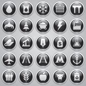 Vector iconos brillantes conjunto, industrial y de transporte iconos, diseño vectorial — Vector de stock