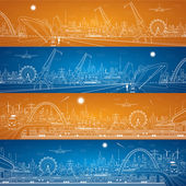 Vector industrial cargo port and transport panorama, vector lines landscape, night city, airlane fly, vector design — Stock Vector