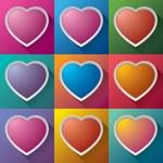 Set multicolored hearts, vector design, minimal icons — Stock Vector #55239399
