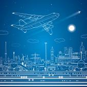Airport, airplane fly, city infrastructure, vector lines design scene — Stock Vector