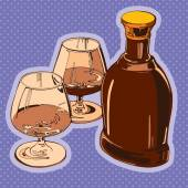 Vector draw illustration, bottle of brandy and two glasses — Stock Vector