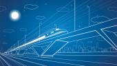 Train on the bridge, dynamic composition, vector industrial and transport panorama, vector lines landscape, night city, vector design — Stock Vector
