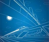 Train on the bridge, car overpass, vector industrial and transport composition, night city, vector design — Stock Vector
