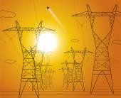 Sunset, energy panorama, power lines, industrial vector design — 图库矢量图片
