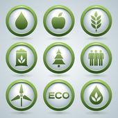 Ecology vector icons set, eco design, nine web buttons — Stock Vector