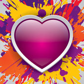 Pink heart, paint color explosion, bright image, valentines day, vector design — Stock Vector