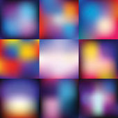 Nine abstraction vector backgrounds set, color gradient patterns — Stock Vector