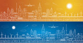Vector lines city panorama, light town, airplane flies, vector design, day and night — Stock Vector