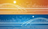 Vector lines train, train on the bridge, background light city, train move, airplane fly, infrastructure, day and night — Stock Vector