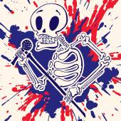 Skeleton with a microphone in hand, paint explosion on background — Stock Vector