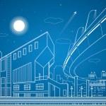 Vector nigh town, architecture, lines design, city infrastructure, overpass, vector bridge — Stock Vector #71493293