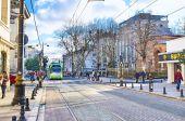 Die grünen Straßenbahn — Stockfoto