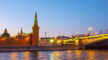 The evening view of the Moscow Kremlin — Stock Video