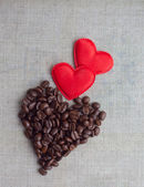 Two red valentine hearts and coffee — Stock Photo