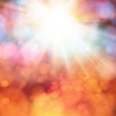 Bright shining sun with lens flare. — Stock Vector