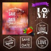 Wedding invitation set — Stock Vector
