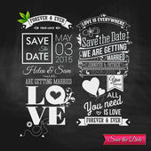 Vintage typography wedding set on chalkboard. — Stock Vector