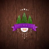 Happy new year label with fir trees. — Stockvektor