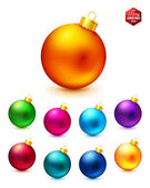 Set of realistic and colorful Christmas balls. — Vector de stock