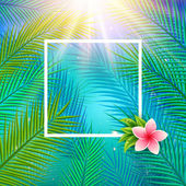 Tropical background with palm leaves. — Stock Vector