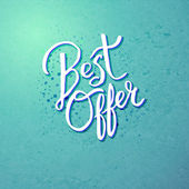 Best Offer Concept on Blue Green Background — Stock Vector
