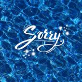 Sorry vector illustration over blue water — Stock Vector
