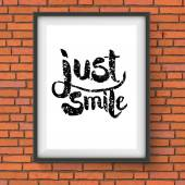 Text Design for Just Smile Concept on a Frame — Stock Vector
