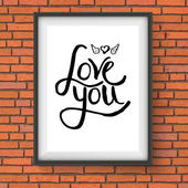 Black Text Design for Love You Concept on a Frame — Stock Vector